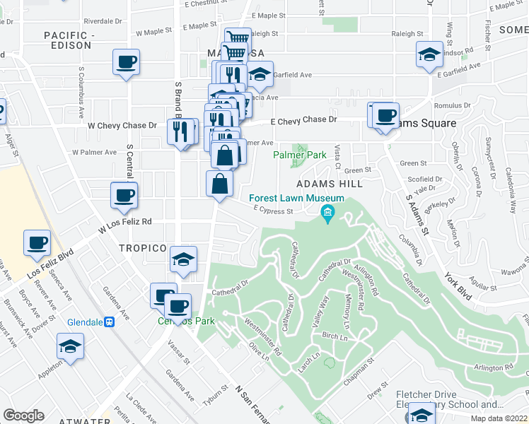map of restaurants, bars, coffee shops, grocery stores, and more near 508 E Cypress St in Glendale