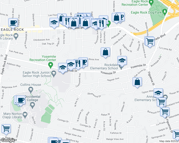 map of restaurants, bars, coffee shops, grocery stores, and more near None in Los Angeles