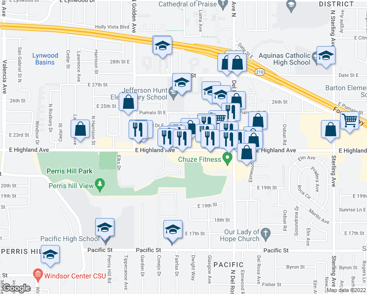 map of restaurants, bars, coffee shops, grocery stores, and more near  in San Bernardino