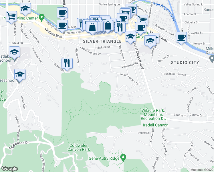 map of restaurants, bars, coffee shops, grocery stores, and more near in STUDIO CITY