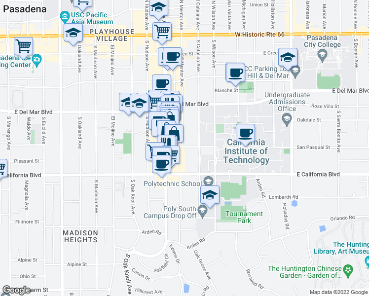 map of restaurants, bars, coffee shops, grocery stores, and more near 441 South Mentor Avenue in Pasadena