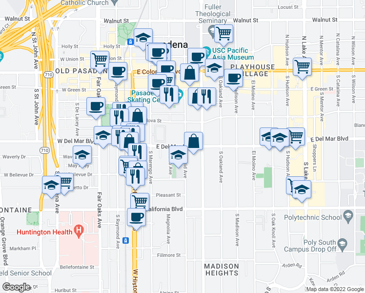map of restaurants, bars, coffee shops, grocery stores, and more near 301-345 South Euclid Avenue in Pasadena