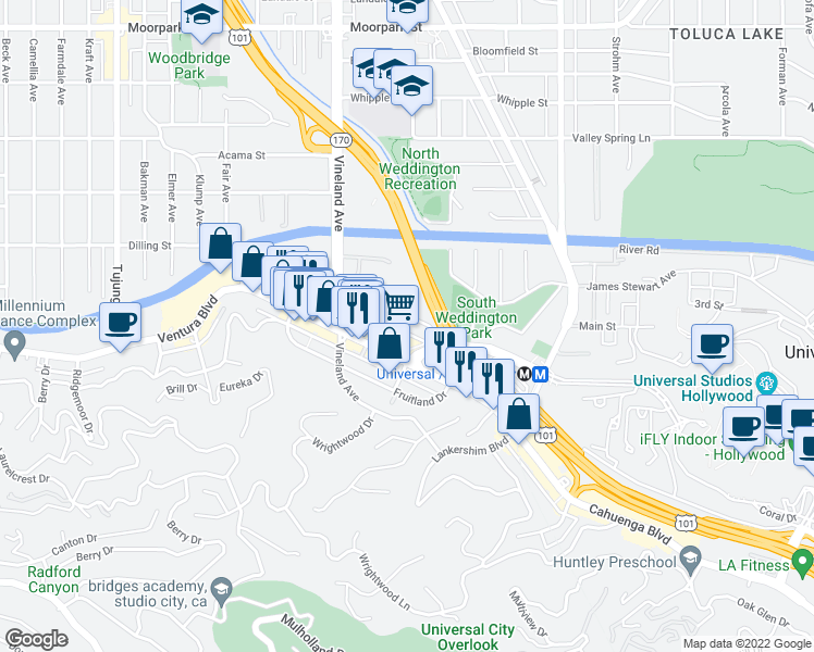 map of restaurants, bars, coffee shops, grocery stores, and more near 10901 Ventura Boulevard in Los Angeles