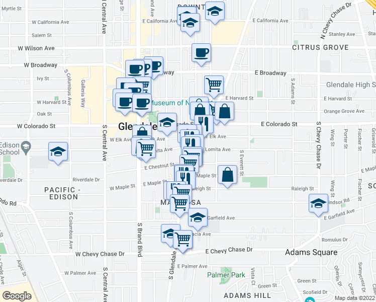 map of restaurants, bars, coffee shops, grocery stores, and more near 407 East Chestnut Street in Glendale