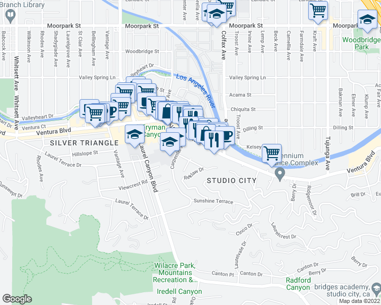 map of restaurants, bars, coffee shops, grocery stores, and more near 11847 Laurelwood Drive in Los Angeles
