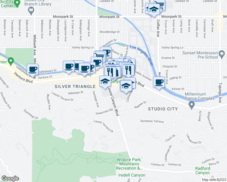 map of restaurants, bars, coffee shops, grocery stores, and more near 3930 Laurel Canyon Blvd in Los Angeles