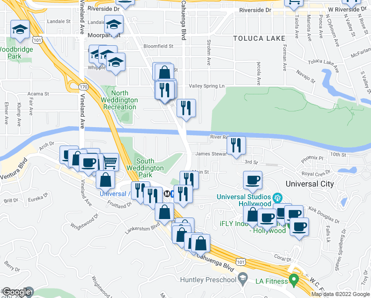 map of restaurants, bars, coffee shops, grocery stores, and more near 4055 Lankershim Boulevard in Los Angeles