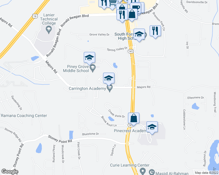 map of restaurants, bars, coffee shops, grocery stores, and more near 8155-8253 Majors Rd in Cumming