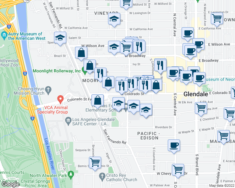 map of restaurants, bars, coffee shops, grocery stores, and more near 546 Oak Street in Glendale