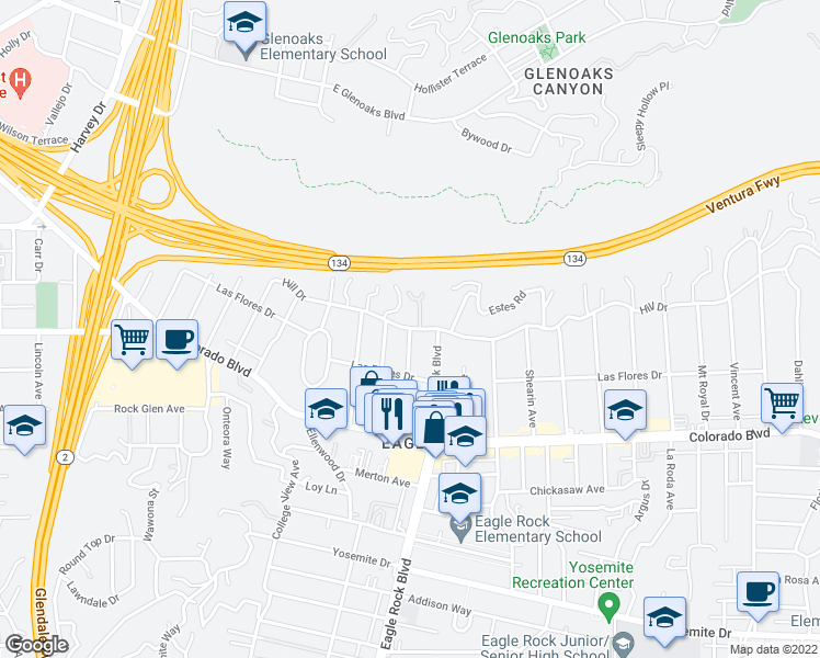 map of restaurants, bars, coffee shops, grocery stores, and more near Hill Dr & Rockland Ave in Los Angeles