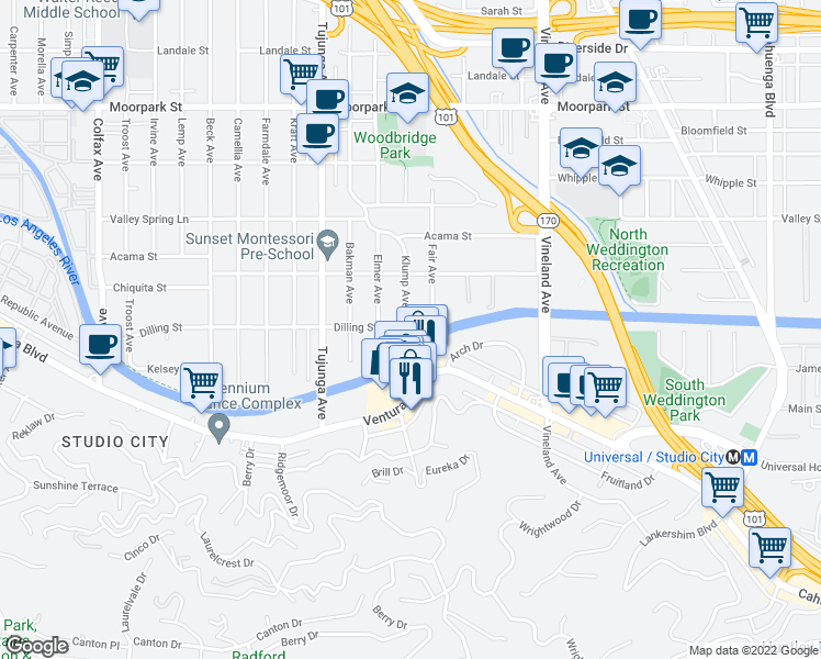 map of restaurants, bars, coffee shops, grocery stores, and more near 11222 Dilling Street in Los Angeles