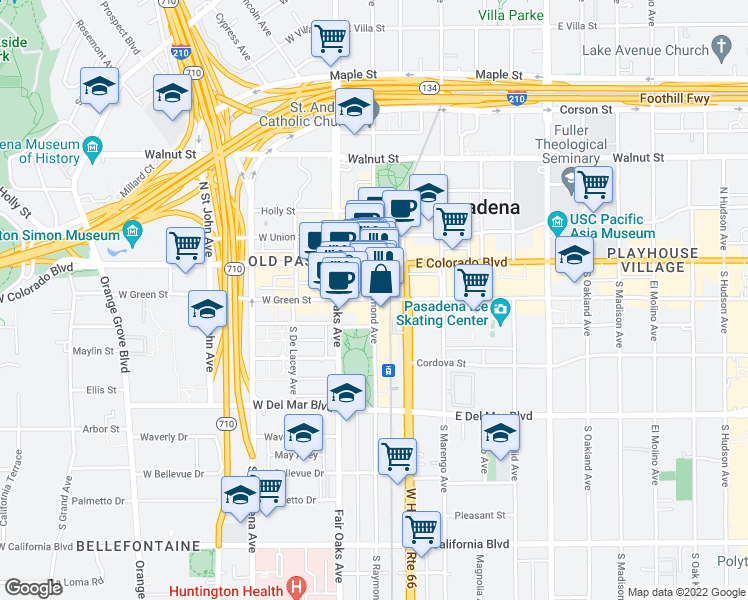 map of restaurants, bars, coffee shops, grocery stores, and more near 50-80 East Green Street in Pasadena