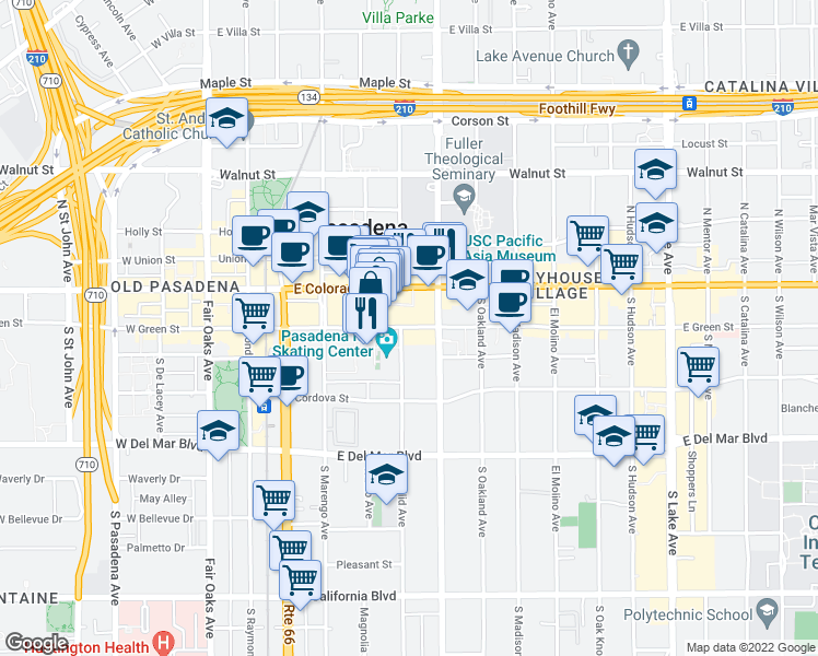 map of restaurants, bars, coffee shops, grocery stores, and more near 304-364 East Green Street in Pasadena