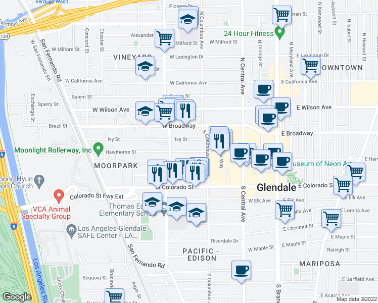 map of restaurants, bars, coffee shops, grocery stores, and more near 449 W Harvard St in Glendale