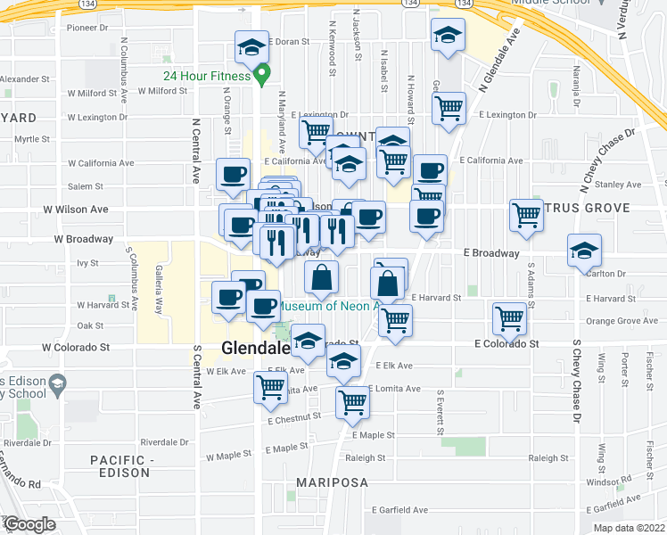 map of restaurants, bars, coffee shops, grocery stores, and more near 406 E Broadway in Glendale