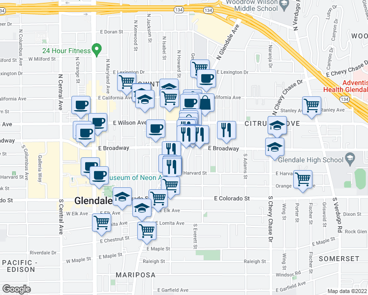 map of restaurants, bars, coffee shops, grocery stores, and more near 712 East Broadway in Glendale
