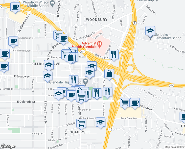 map of restaurants, bars, coffee shops, grocery stores, and more near 1471-1475 East Broadway in Glendale