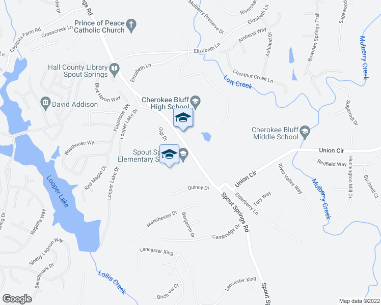 map of restaurants, bars, coffee shops, grocery stores, and more near 6609 Spout Springs Road in Flowery Branch