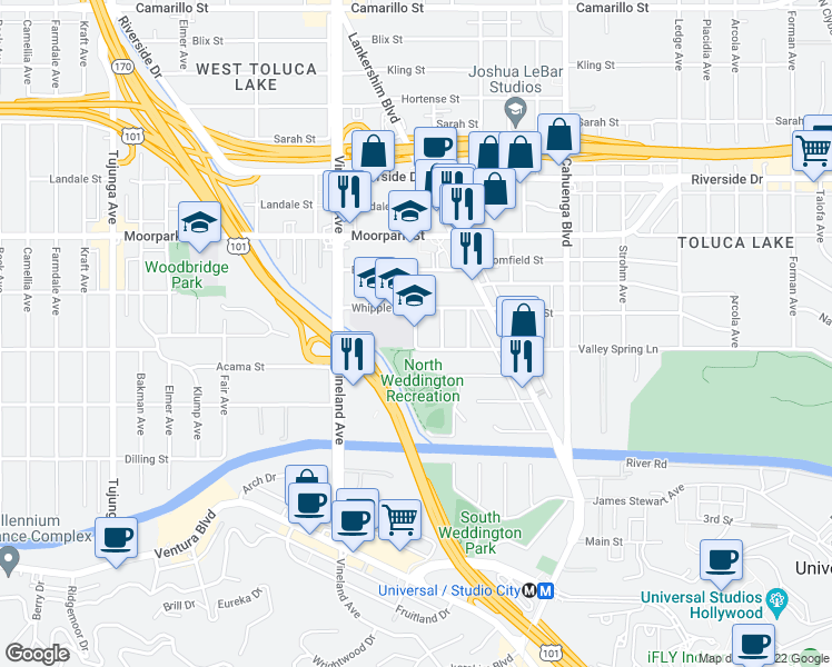 map of restaurants, bars, coffee shops, grocery stores, and more near 10900-10952 Whipple St in Los Angeles