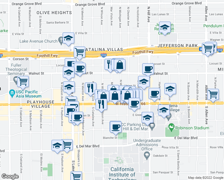 map of restaurants, bars, coffee shops, grocery stores, and more near 64 North Mar Vista Avenue in Pasadena