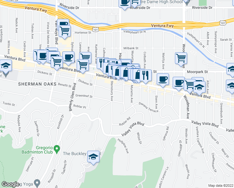 map of restaurants, bars, coffee shops, grocery stores, and more near 13808 Ventura Boulevard in Los Angeles