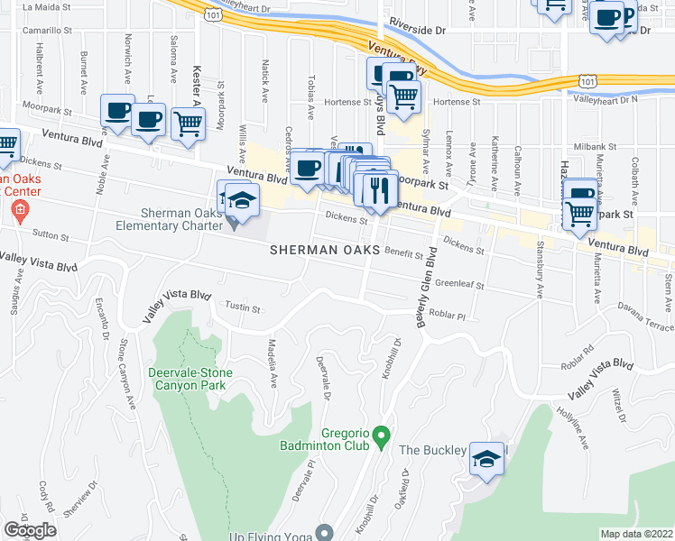 map of restaurants, bars, coffee shops, grocery stores, and more near 14540 Greenleaf Street in Sherman Oaks