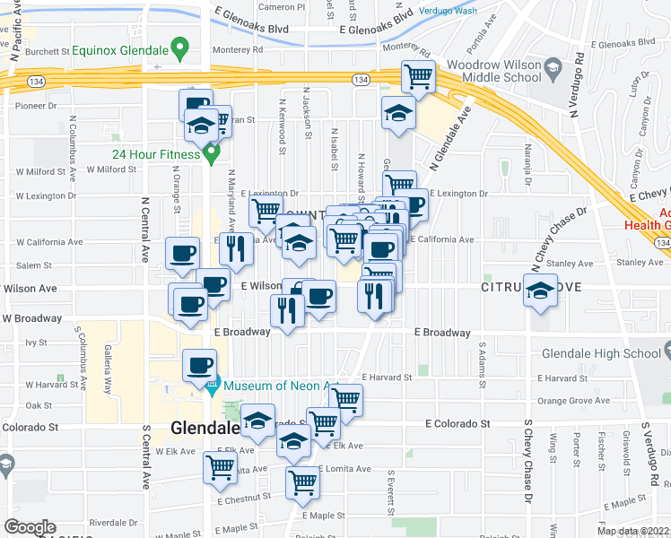 map of restaurants, bars, coffee shops, grocery stores, and more near 222 N Jackson St in Glendale