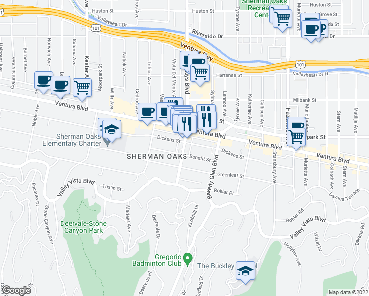 map of restaurants, bars, coffee shops, grocery stores, and more near 4320 Van Nuys Blvd in Los Angeles