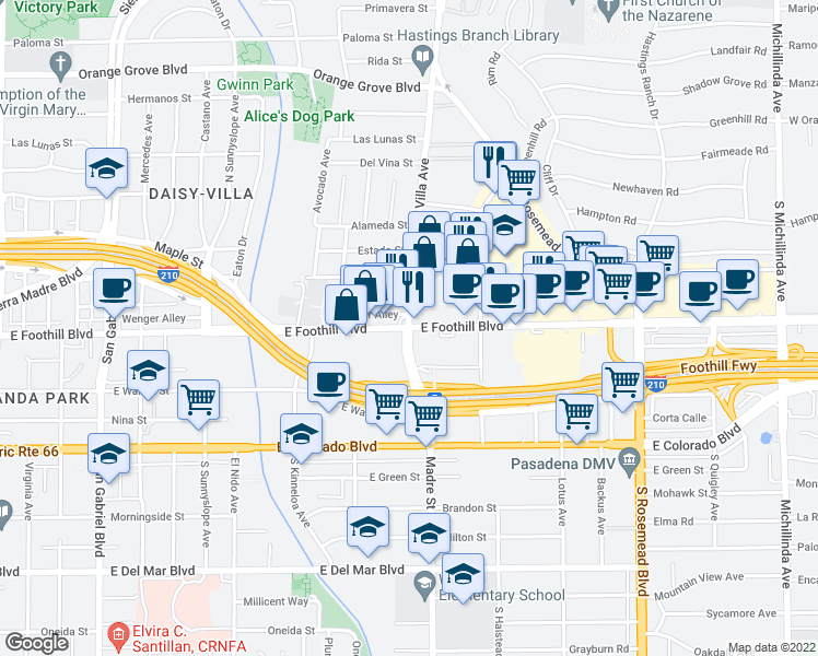 map of restaurants, bars, coffee shops, grocery stores, and more near 3360 East Foothill Boulevard in Pasadena