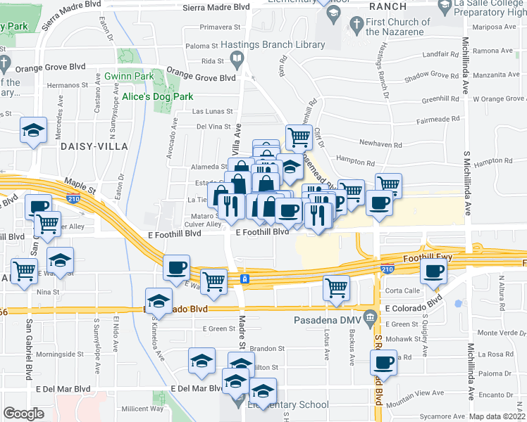 map of restaurants, bars, coffee shops, grocery stores, and more near 3415 East Foothill Boulevard in Pasadena