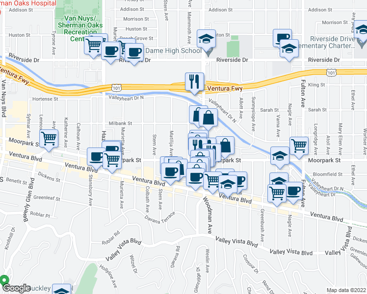 map of restaurants, bars, coffee shops, grocery stores, and more near 4482 Mammoth Avenue in Los Angeles