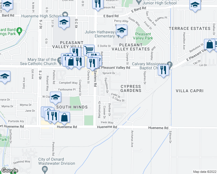 map of restaurants, bars, coffee shops, grocery stores, and more near 5242 Davidson Dr in Oxnard