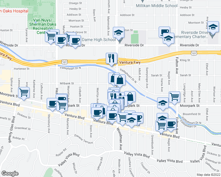 map of restaurants, bars, coffee shops, grocery stores, and more near 13731 Mammoth Place in Los Angeles