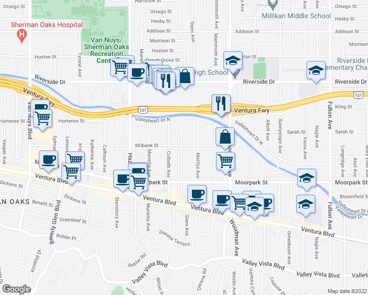 map of restaurants, bars, coffee shops, grocery stores, and more near 4490 Stern Avenue in Sherman Oaks