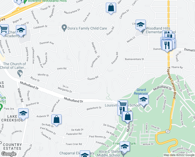 map of restaurants, bars, coffee shops, grocery stores, and more near 22512 Quinta Road in Woodland Hills