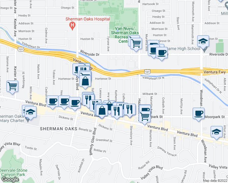 map of restaurants, bars, coffee shops, grocery stores, and more near 4507 Katherine Avenue in Sherman Oaks