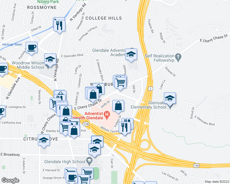 map of restaurants, bars, coffee shops, grocery stores, and more near in Glendale