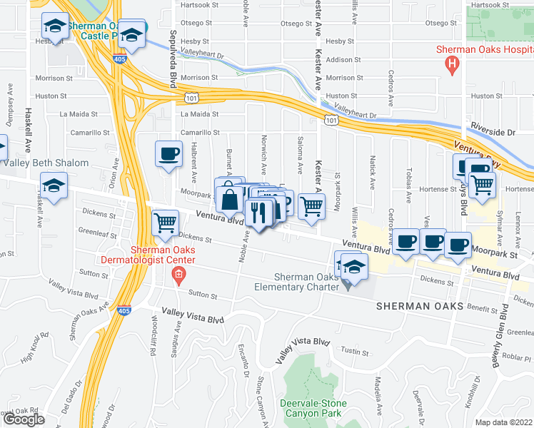 map of restaurants, bars, coffee shops, grocery stores, and more near 15024 Moorpark Street in Sherman Oaks