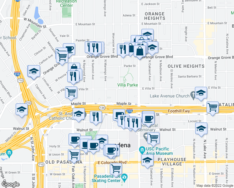map of restaurants, bars, coffee shops, grocery stores, and more near 432-450 N Garfield Ave in Pasadena