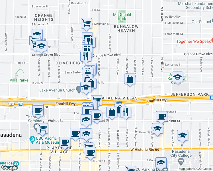 map of restaurants, bars, coffee shops, grocery stores, and more near 449 North Catalina Avenue in Pasadena
