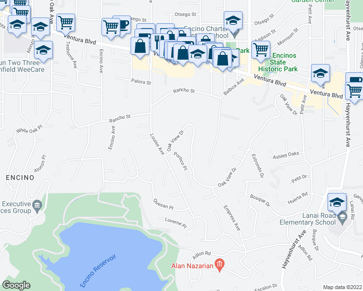map of restaurants, bars, coffee shops, grocery stores, and more near 17272 Oak View Drive in Encino