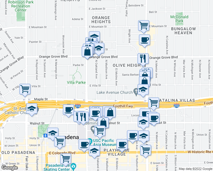 map of restaurants, bars, coffee shops, grocery stores, and more near E Villa St & N Madison Ave in Pasadena