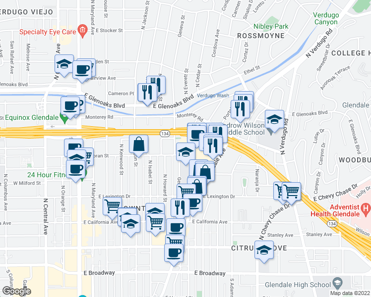map of restaurants, bars, coffee shops, grocery stores, and more near 750 Glenvia Street in Glendale