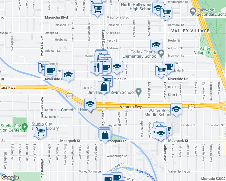 map of restaurants, bars, coffee shops, grocery stores, and more near 12021 Kling Street in Los Angeles