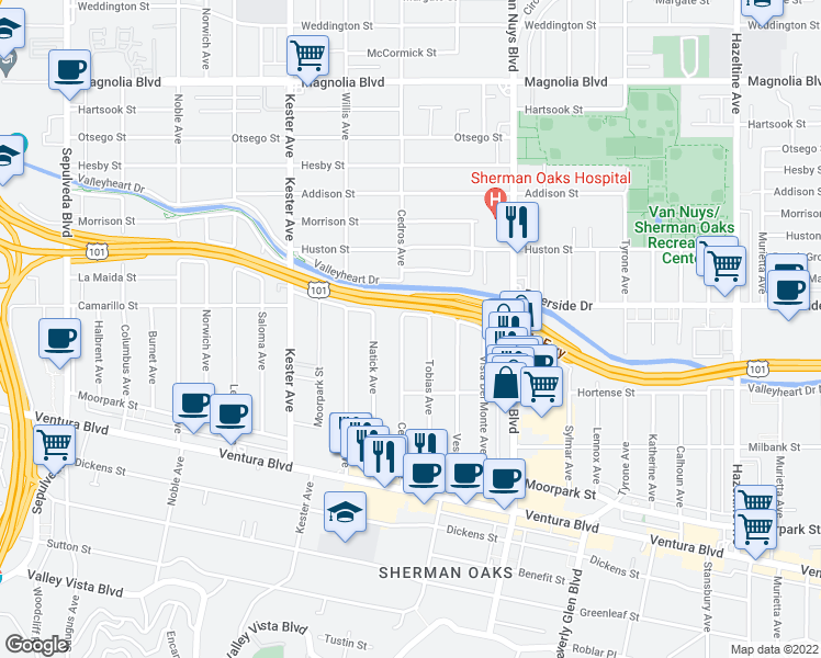 map of restaurants, bars, coffee shops, grocery stores, and more near 4728 Cedros Avenue in Los Angeles