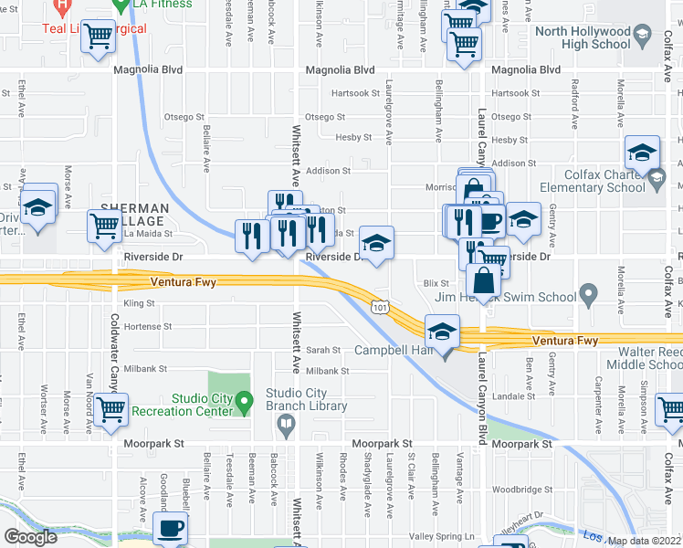map of restaurants, bars, coffee shops, grocery stores, and more near Ventura Freeway in Los Angeles