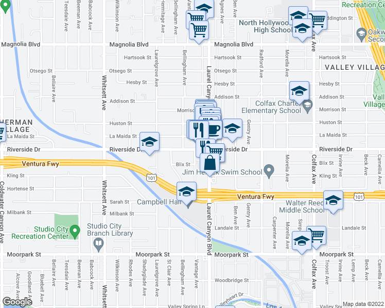 map of restaurants, bars, coffee shops, grocery stores, and more near 12139 Riverside Driv