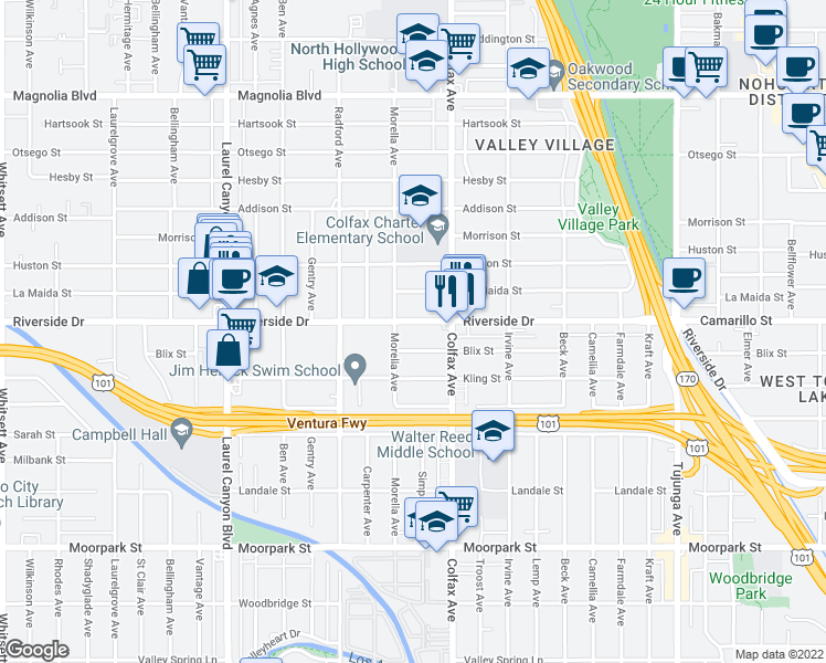 map of restaurants, bars, coffee shops, grocery stores, and more near 11737 Riverside Drive in Los Angeles