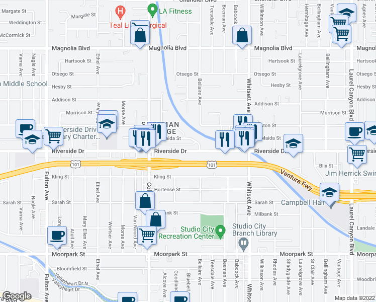 map of restaurants, bars, coffee shops, grocery stores, and more near 12717 Riverside Drive in Los Angeles