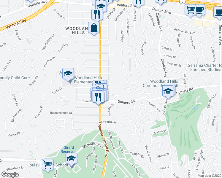 map of restaurants, bars, coffee shops, grocery stores, and more near 4950 Don Pio Drive in Woodland Hills